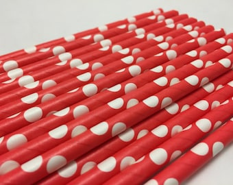 Red Paper Straws, Red and White Spotted Paper Straws, Birthday Straws, Carnival Paper Straws, Circus Paper Straws,