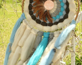 Extra Large Native American Style Mandala with Wool, Feathers, Blues, Dream Catcher, Terra-cotta, Brown and Blue Decor, 1970s, Home Decor