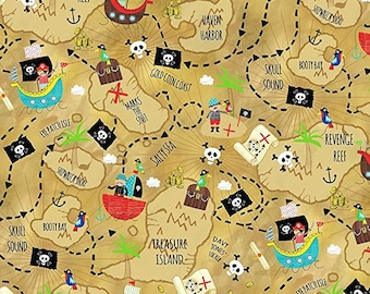 Pirate Treasure Map on Sand from Timeless Treasure's Treasure Island Collection