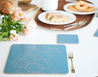 Geometric placemats, hexagons, teal, coral, square placemats, graphic design, set of 4, 24x24cm, 9.5x9.5""