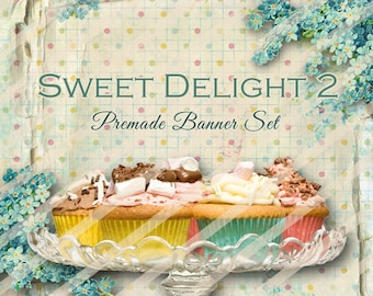 "Banner Set - Shop banner set - Premade Banner Set - Graphic Banners - Facebook Cover - Avatars - Bisiness Card - ""Sweet Delights 2"""
