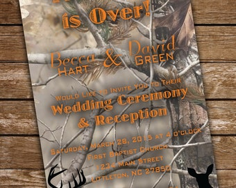Camouflage Wedding Invitation & RSVP, DIGITAL