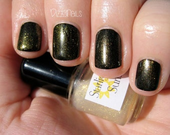 Sunshine Gold Shimmer Effect Top Coat Nail Lacquer Indie Starlight Polish