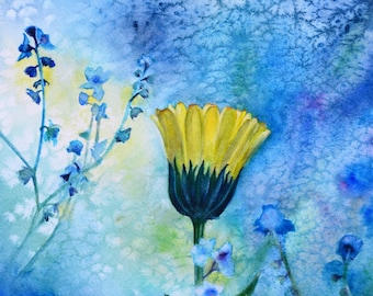"""Mystic, fine art giclee reproduction of an original watercolor painting by Meike Geisler, 9.25"""" x 13.25""""; floral art, blue, yellow, green"""