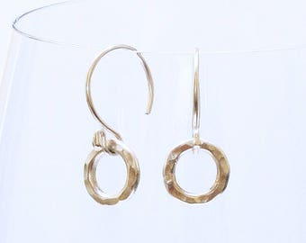 Sterling Silver Hammered Ring Earrings