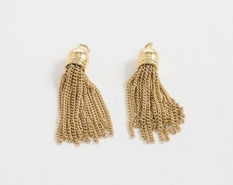 Chain Tassel, Jewelry Supplies, Metal Tassel, Polished Gold Plated Over Brass - 2 Pieces-[BP0025]-PG