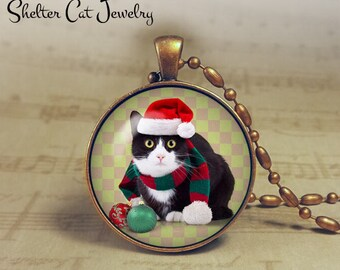 "Christmas Tuxedo Cat in Santa Hat and Scarf Necklace - 1-1/4"" Circle Pendant or Key Ring - Humor Christmas Cat - Present - Gift"