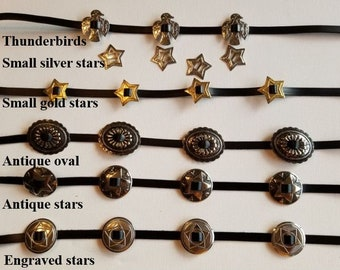 Custom leather hatbands, 3/8 inch wide, plain or with conchos featuring card suite, stars, southwest designs, thunderbirds, silver gold