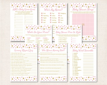 Twinkle Twinkle Little Star Baby Shower Games Package / 8 Printable Games / Glitter Star / Pink Twinkle Star / INSTANT DOWNLOAD A196