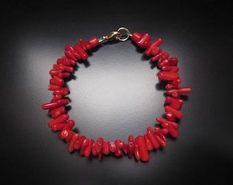 Red Coral Stick Bracelet, Red Coral Bracelet, Red Coral Jewelry, Red Bracelet, Red Stick Coral, Beaded Coral Gold Bracelet