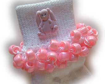 Kathy's Beaded Socks - Pink Easter Bunny socks, button socks, girls socks, bunny socks, pink pony bead socks