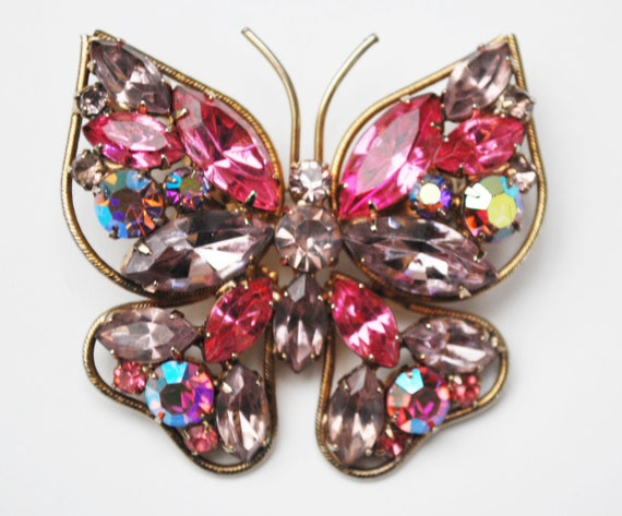 Pink Butterfly Brooch - Rhinestone -light and dark Pink crystal - Gold metal - flying insect Pin