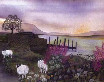 "Art Print: ""Rose bay""- A3 landscape print, sheep print, wall art, moorland scene, lilac purple art, rural art,from a painting by Liz Clarke"