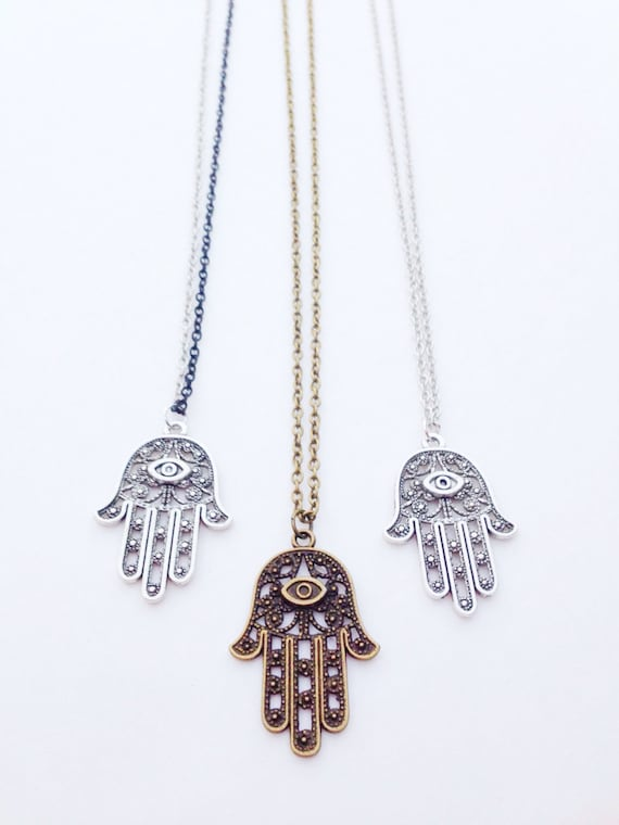 Hamsa Necklace. Silver, Brass, or Two-tone. Unisex.