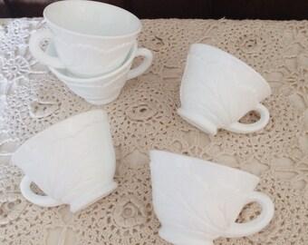 Set of Five Antique Milk Glass Tea Cups