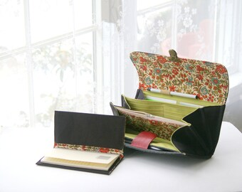 CHECKBOOK COVER for your wallet/personalized checkbook cover, womens checkbook wallet, black floral/fabric checkbook cover/ quality handmade