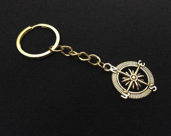 COMPASS North East South West Silver Metal Charm Keychain Key Ring Unique Gift