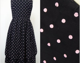 70s Polka Dot Dress, Vintage 70s/80s Black Dress, Pink Polka Dots, Sleeveless Spaghetti Strap, Tiered Ruched Skirt, Women's Size 11/12