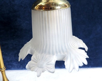 Vintage French bronze table lamp with a stunning, pressed glass, shade