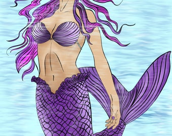 Mermaid/fantasy/mythical adult colouring digital download page