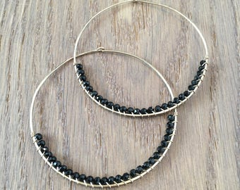 Black Spinel Hoop Earrings, 14Kt Gold Filled or Sterling Silver, Hand Hammered Wire Wrapped Gemstone Hoop Earrings, Gift Statement Earrings