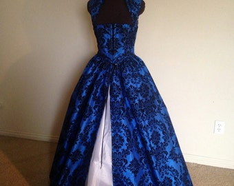 Royal Blue and BlaCk Fantasy Renaissance Over Gown Dress made for you!!! other COLORS available