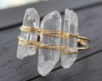 Quartz Bracelet Quartz Cuff Bracelet Quartz Point Bracelet Crystal Point Bracelet Gold Boho Bracelet Hippie Bracelet