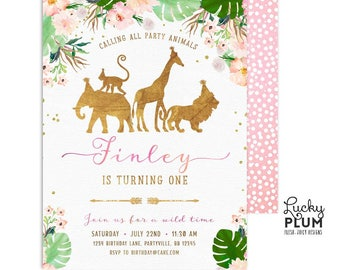 Girl Jungle Birthday Invitation / Pink Floral Safari Birthday Invitation / First Birthday Invitation / Gold Animal Elephant Giraffe SF05