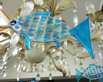 Iridescent fused glass fish suncatcher 15cm x 8cm