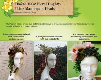 Ebook: Tutorial DIY Floral Centerpieces on a Mannequin Head