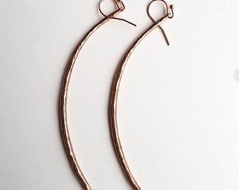 Long Hammered Copper Spike Earrings