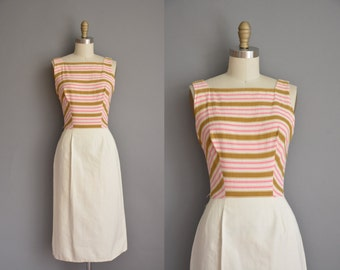 50s dress / vintage 1950s dress / moss green and pink stripe dress
