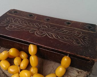 Antique Brown Genuine Leather Box, Vintage Hand Tooled Real Leather Box with Beads Decorations, Memory Box, Trinket Box, Jewelry Box