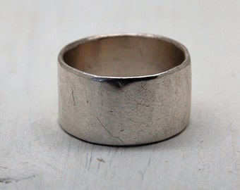 Sterling Silver Chunky Wide Hammered Ring