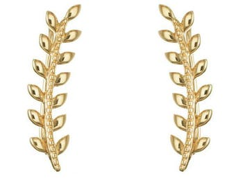 Earrings ears lobes contours ear-cuff - Silver 925/1000 silver or gold plated Laurel leaf