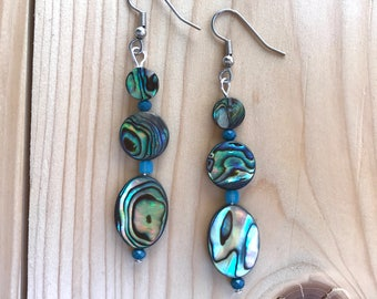 Abalone earrings, Paua Shell earrings, three beaded abalone earrings