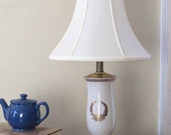 Vintage White Porcelain Lamp, Brass Base, Gold Laurel Wreath Greek Key  Symbols, Table