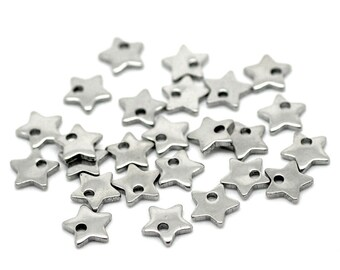 Tiny star charms stainless steel hypoallergenic charms 10pcs