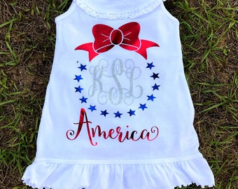 4th of July toddler Dress/personalized Monogram 4th of july Dress/ Red White Blue/ SIZE 2,3,4,5,6