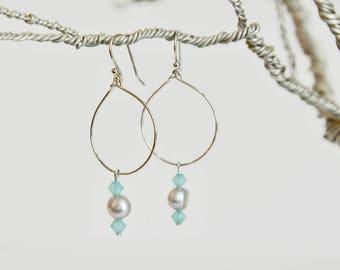 Blue, Pearl Hoop Earrings