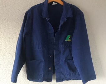 Royal Blue Herringbone French Work Wear Jacket