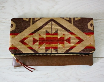 Navajo Foldover Clutch / Ethnic Tribal Style / Kindle Case / Upholstery fabric