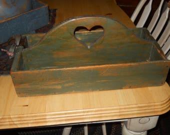 Vintage Painted Wood Tote