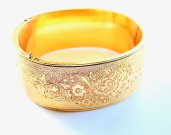 Vintage Gold Filled Engraved Hinged Cuff