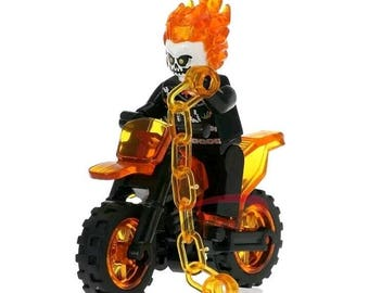 Ghost Rider Mini Figure and Motorcycle Action Accessory Custom Brick Block Toy Set Gift Present