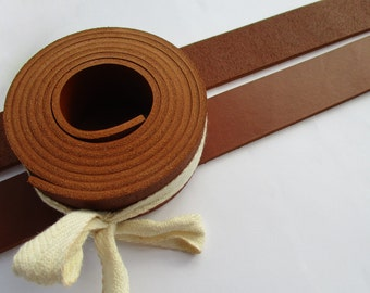 "3mm. / 7,5-8 oz Cognac Geniune Leather Belt Blank Strip Strap Band. 55"" or 140cm. Various width"