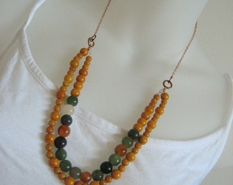 Colorful Layered Necklace Set Beaded Long Necklace Handmade Jewelry Tropical Citrus Gemstone Long Earrings Statement Jewelry Copper Necklace