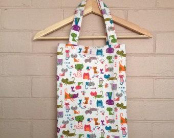 birthday gift cats everyday bag, reusable shopper shopping bag, fabric cotton tote bag, weekend bag, grocery bag, carry handbag