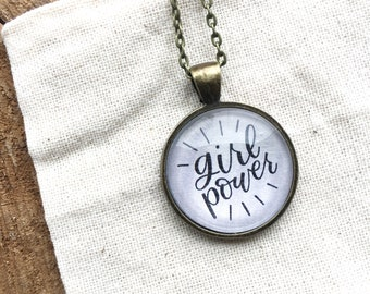 Girl Power Pendant Necklace - Glass Cabochon Necklace - Girl Power Necklace - Illustrated Pendant Necklace - Pendant Necklace
