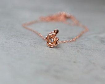 Delicate Rose Gold Necklace, Dainty Flower Necklace, Little Flower Pendant, Tiny Charm Necklace, Rose Gold Jewelry, Rose Gold Gift, For Her